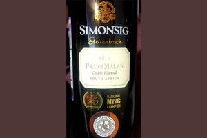 Отзыв о вине Simonsig Frans Malan Cape Blend Stellenbosch 2015
