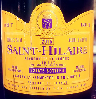 Отзыв об игристом вине Saint-Hilaire Blanquette de Limoux estate bottled 2015