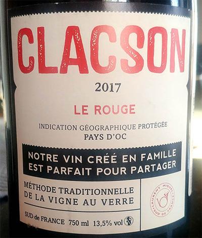 Отзыв о вине Clacson le rouge Pays d'Oc 2017