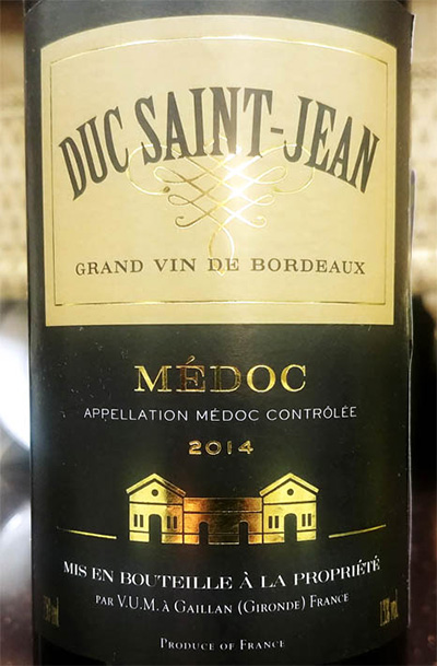 Отзыв о вине Duc Saint-Jean Medoc grand vin de Bordeaux 2014