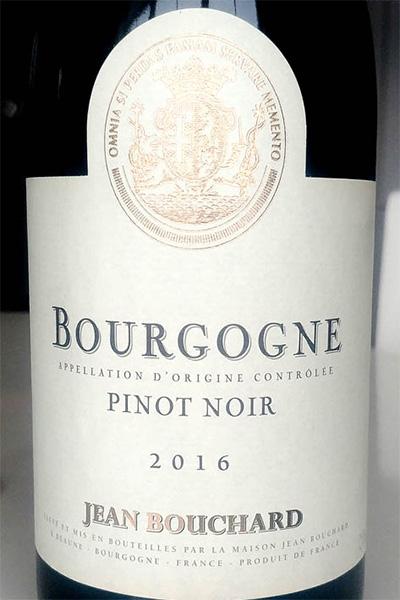 Отзыв о вине Jean Bouchard Bourgogne Pinot Noir 2016