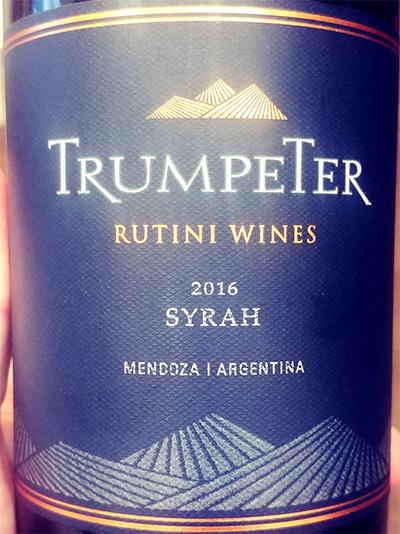 Отзыв о вине Rutini Wines Trumpeter Syrah 2016