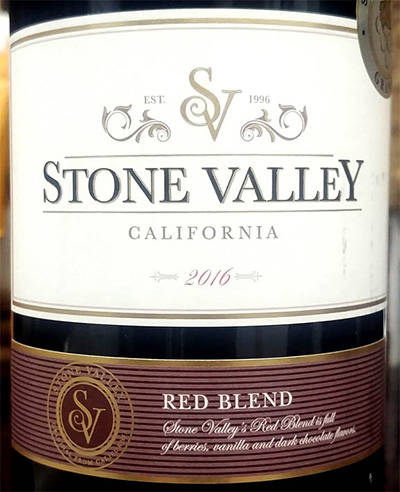 Отзыв о вине Stone Valley Red Blend 2016