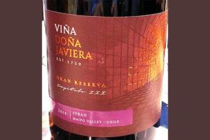 Отзыв о вине Vina Dona Javiera Syrah gran reserva 2014