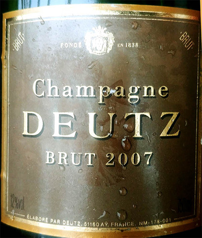 Отзыв об игристом вине Champagne Deutz Brut Millesime 2007