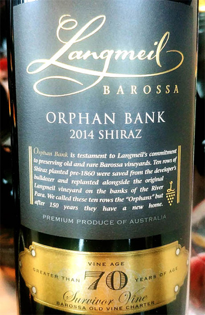 Отзыв о вине Langmeil Orphan Bank Shiraz 70 vine age 2014