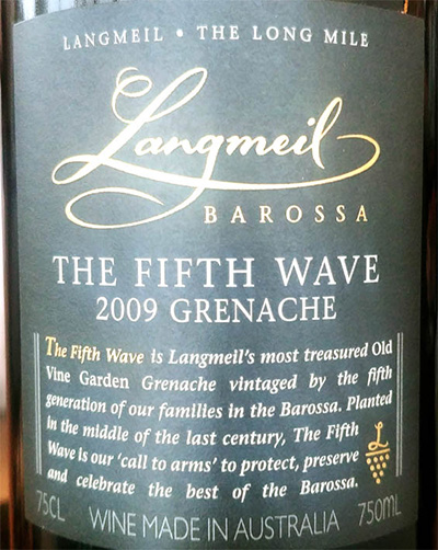 Отзыв о вине Langmeil The Fifth Wave Grenache 2009