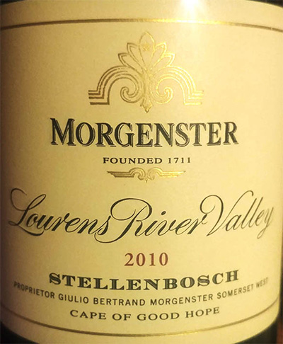 Отзыв о вине Stellenbosch Morgenster Lourens River Valley 2010