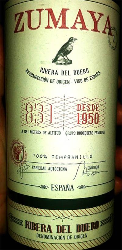 Отзыв о вине Zumaya Tempranillo Ribera del Duero 2016