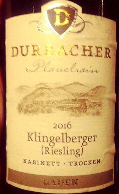Отзыв о вине Durbacher Plauelrain Klingelberger (Riesling) trocken Baden 2016