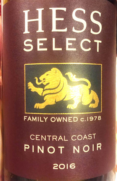 Отзыв о вине Hess Select Pinot Noir Central Coast 2016