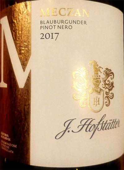 Отзыв о вине J.Hofstaller Meczan Blauburgunder Pinot Nero Alto Adige 2017