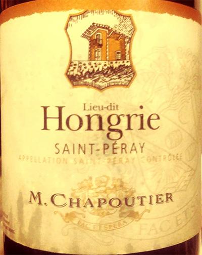 Отзыв о вине M.Chapoutier Lieu-dit Hongrie Saint-Peray 2016
