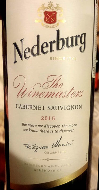 Отзыв о вине Nederburg The Winemasters Cabernet Sauvignon 2015