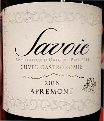 Отзыв о вине Savoie cuvee gastronomie Apremont 2016