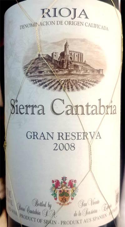 Отзыв о вине Sierra Cantabria Gran Reserva tinto 2008
