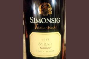 Отзыв о вине Simonsig Merindol Syrah Stellenbosch 2014