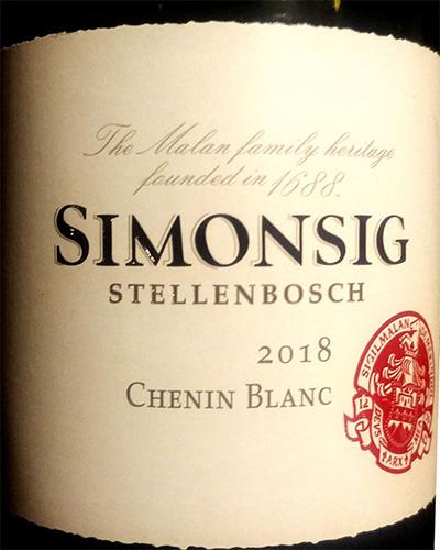 Отзыв о вине Simonsig Stellenbosch Chenin Blanc 2018