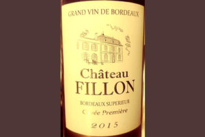 Отзыв о вине Chateau Fillon Cuvee primiere Bordeaux superieur 2015