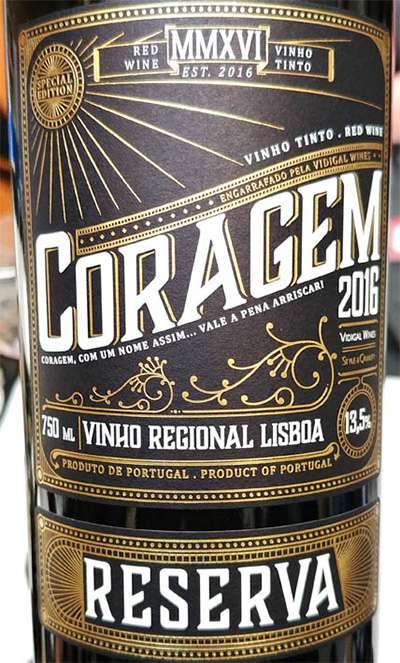 Отзыв о вине Coragem Vinho Regional Lisboa reserva red 2016