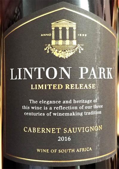 Отзыв о вине Linton Park Limited Release Cabernet Sauvignon Estate Wine 2016