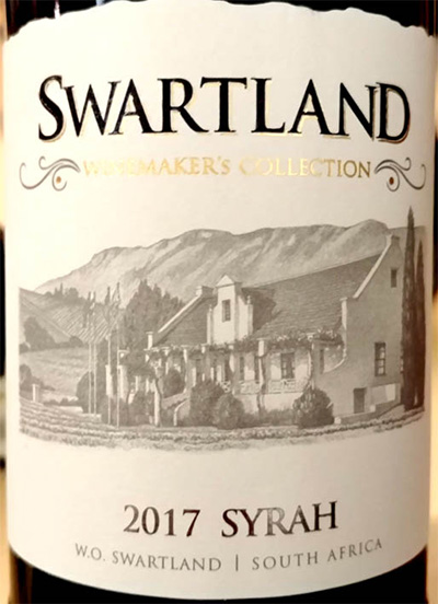 Отзыв о вине Swartland Winemaker's Collection Syrah 2017