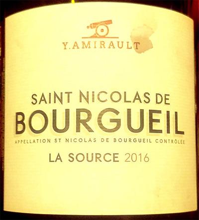 Отзыв о вине Y.Amirault Saint Nicolas de Bourgueil La Source 2016