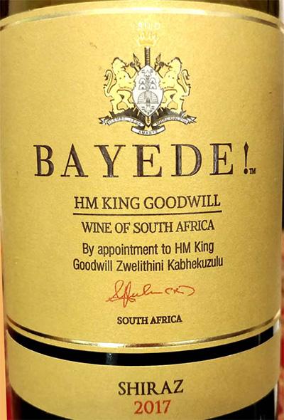 Отзыв о вине Bayede! HM King Goodwill Shiraz 2017