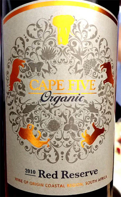 Отзыв о вине Cape Five Organic Red Reserve 2010