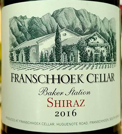 Отзыв о вине Franschhoek Cellar Baker Station Shiraz 2016