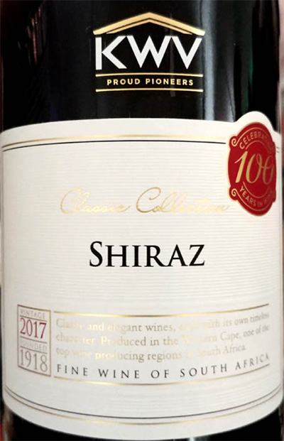 Отзыв о вине KWV Classic Collection Shiraz 2017