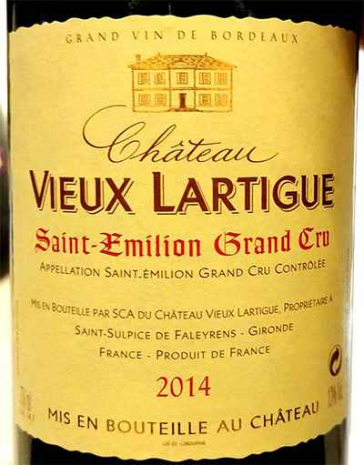 Отзыв о вине Chateau Vieux Lartigue Saint-Emilion Grand Cru 2014