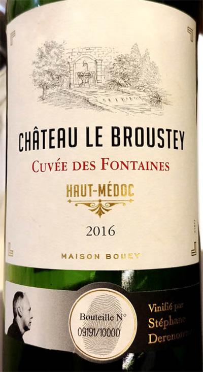 Отзыв о вине Maison Bouey Chateau le Broustey Cuvee des Fontaines Haut-Medoc 2016