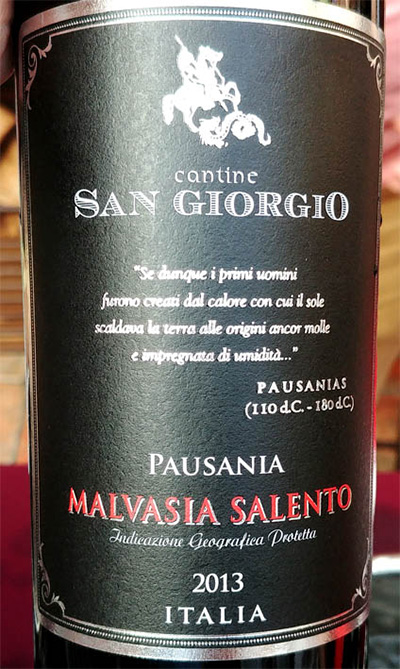 Отзыв о вине San Giorgio Pausania Malvasia Salento 2013