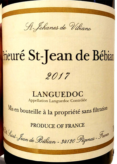 Отзыв о вине St.Johanes de Vibiano Prieure St-Jean de Bebian Languedoc 2017