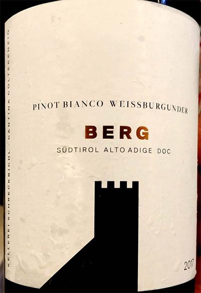 Отзыв о вине Cantina Colterenzia Berg Pinot Bianco Weissburgunder Sudtirol Alto Adige 2017