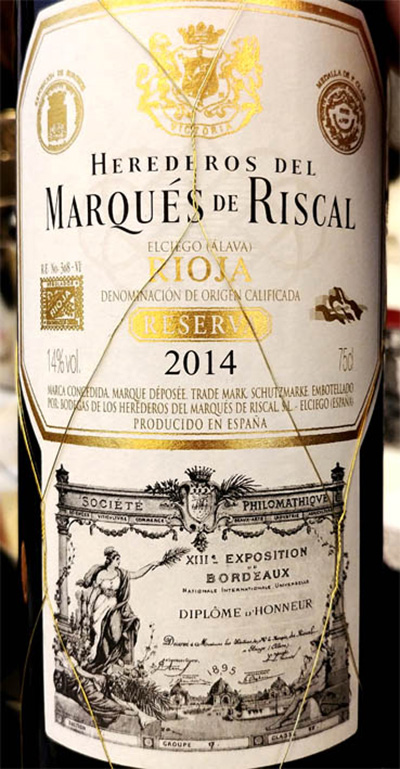 Отзыв о вине Marques de Riscal Reserva Rioja 2014