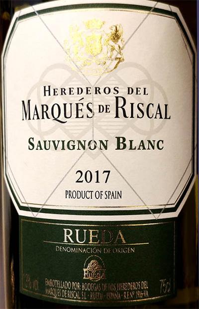 Отзыв о вине Marques de Riscal Sauvignon Blanc Rueda 2017