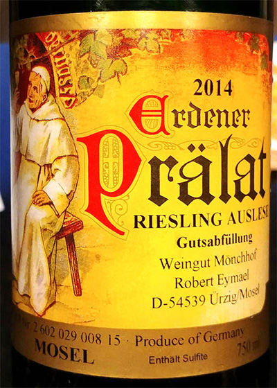 Отзыв о вине Monchhof Robert Eymael Ordener Pralat Riesling Auslese 2014