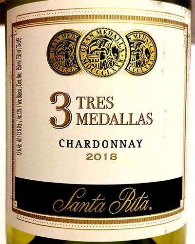 Отзыв о вине 3 Tres Medallas Chardonnay Santa Rita 2018