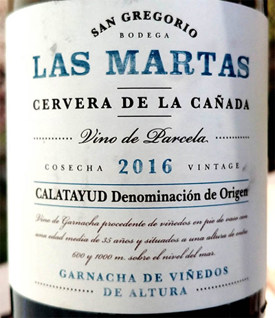 Отзыв о вине Bodega San Grigorio Las Martas Cervera de la Canada Garnacha de Vinedos le Altura 2016