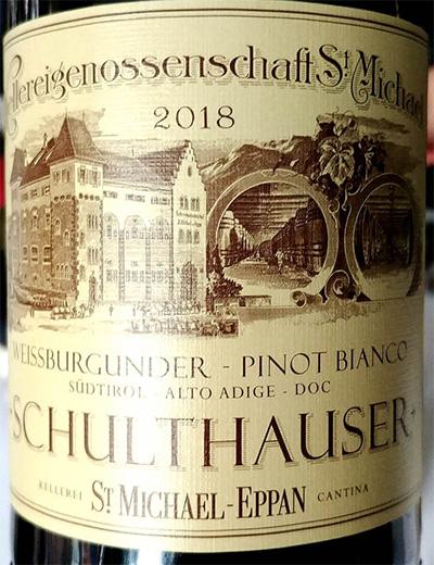 Отзыв о вине Cantina St. Michael - Eppan Pinot Bianco Weissburgunder Schulthauser Alto Adige Sudtirol 2018