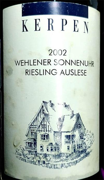 Отзыв о вине Kerpen Wehlener Sonnenuhr Riesling Auslese 2002