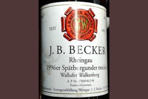 Отзыв о вине Wallufer Walkenberg J.B.Becker Rheingau 1996er Spatburgunder Trocken 1996
