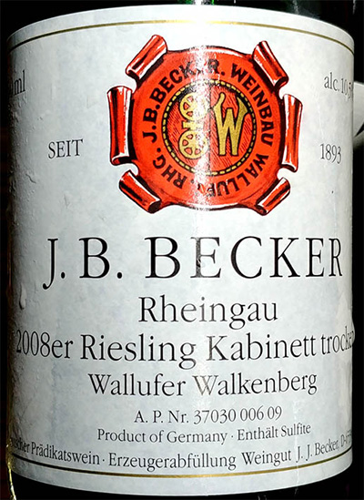 Отзыв о вине Wallufer Walkenberg J.B.Becker Rheingau 2008er Riesling Kabinett Trocken 2008