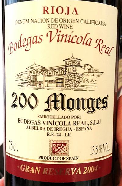Отзыв о вине Bodegas Vinicola Real 200 Monges gran reserva 2004