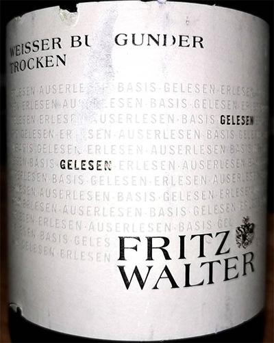 Отзыв о вине Fritz Walter Wiesser Burgunder 2017