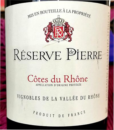Отзыв о вине Reserve de Pierre Cotes du Rhone 2016