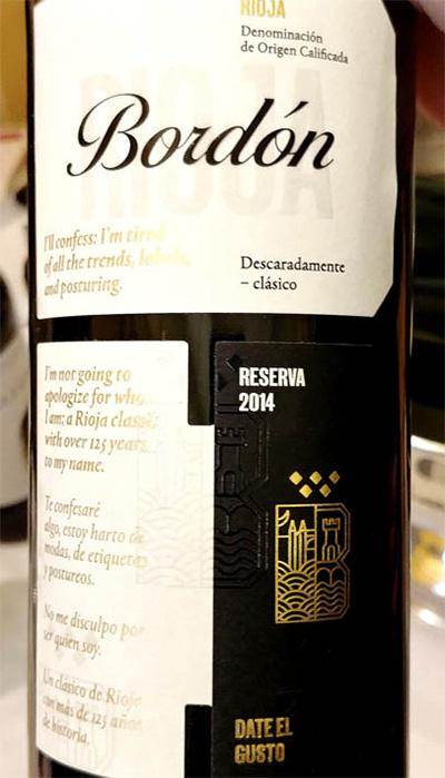 Отзыв о вине Bodegas Franco-Espanolas Bordon Descaradamente - clasico Reserva Rioja 2014