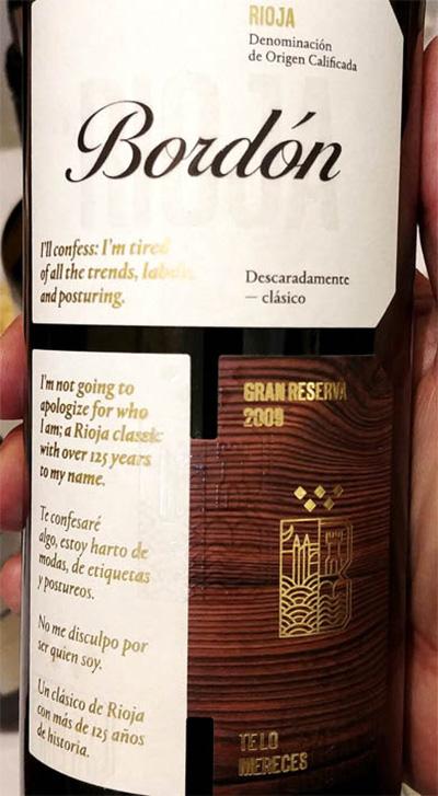 Отзыв о вине Bodegas Franco-Espanolas Bordon Descaradamente — clasico Gran Reserva Rioja 2009